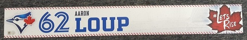 Photo of Authenticated Game Used Locker Name Plate - #62 Aaron Loup (2 feet by 3 inches)