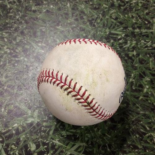 Photo of Game-Used Baseball 08/29/17 STL@MIL - Matt Garza - Tommy Pham: Single
