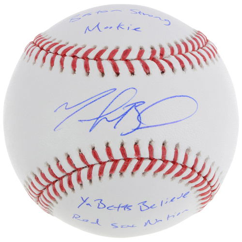 Photo of Mookie Betts Boston Red Sox Autographed Baseball with Multiple Inscriptions - L. E. #1 of 50