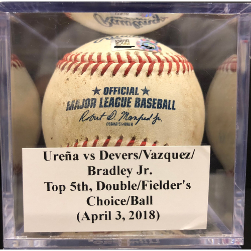 Photo of Game-Used Baseball: Ureña vs Devers/Vazquez/Bradley Jr., Top 5th, Double (3)/Fielder's Choice/Ball (April 3, 2018)