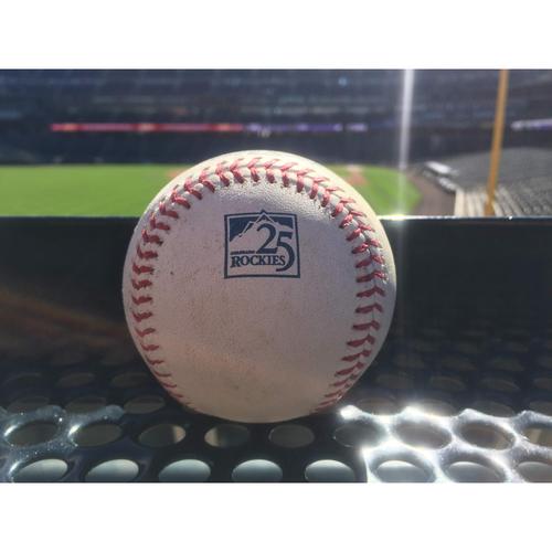 Photo of Colorado Rockies Game-Used Baseball - McGee v. Rendon - RBI Triple (2) to Blackmon, Harper scores - September 29, 2018