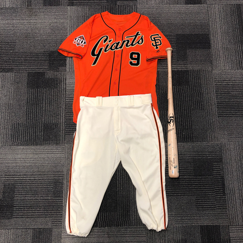 Photo of San Francisco Giants - 2018 Game Used Orange Friday Jersey and Game Used Broken Bat from 8/31 with Team Issued Pants - used by #9 Brandon Belt - Jersey Size: 48 - Pant Size - 39-42-23