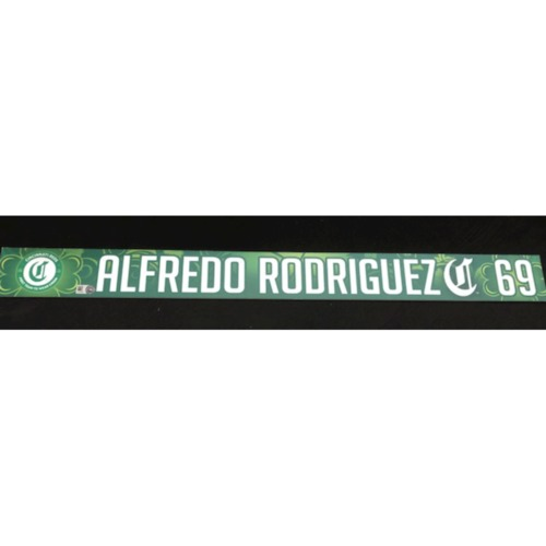 Photo of Alfredo Rodriguez -- Team-Issued Locker Name Plate -- 2019 St. Patrick's Day
