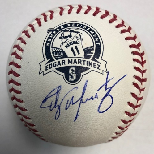 Photo of Edgar Martinez Autographed Retirement Logo Baseball