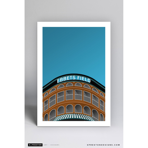 Ebbets Field - Minimalist Ballpark Art Print by S. Preston  - Brooklyn Dodgers