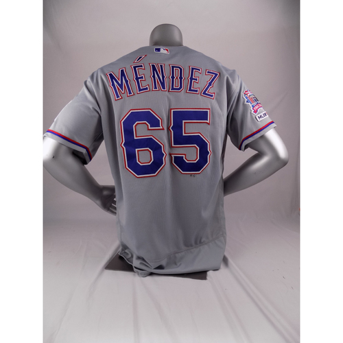 Photo of Final Season Game-Used Grey Jersey - Yohander Mendez - 9/5/19
