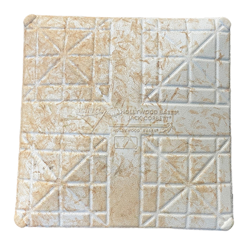 Photo of Game-Used 1st Base -- Used in Innings 1 through 9 -- Padres vs. Cubs -- 6/2/21 -- Features Lou Gehrig Day Base Jewels