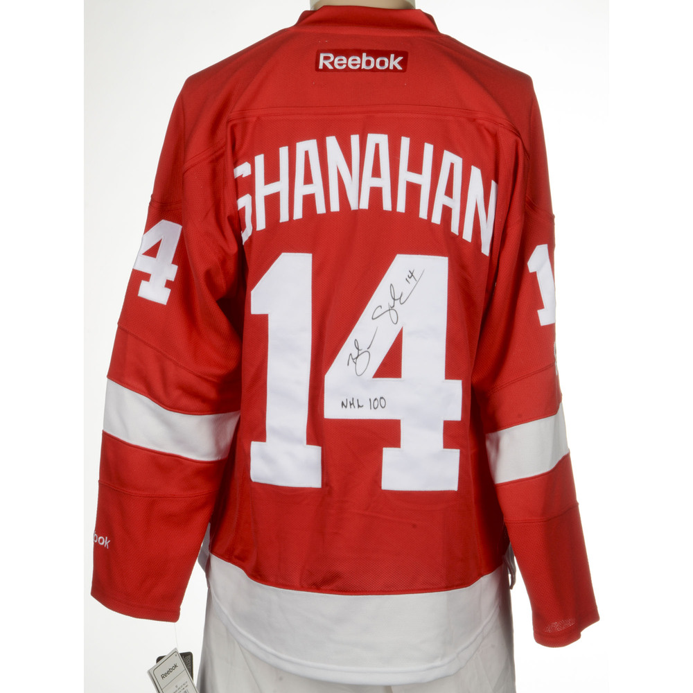 Brendan Shanahan Detroit Red Wings Autographed Reebok Premier Jersey with Centennial  Patch and NHL 100 Inscription. Auctioned by the National Hockey League ... 29fd60286