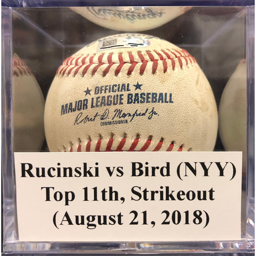 Photo of Game-Used Baseball: Rucinski vs Bird (NYY), Top 11th, Strikeout (August 21, 2018)