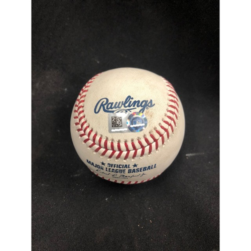 Photo of Christian Yelich Hits for Cycle -- Game-Used Baseball -- 5th Inning -- Hader to Suarez (Foul) -- Yelich Goes 6-for-6, Hits for the 8th Cycle in Brewers History -- 08/29/2018 -- MIL vs. CIN