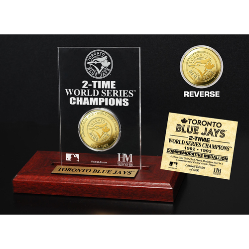 Photo of Toronto Blue Jays 2-Time World Series Champions Gold Coin Etched Acrylic