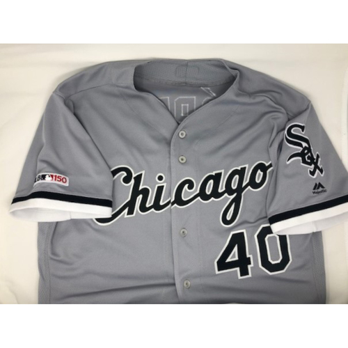 Photo of Reynaldo Lopez 2019 Game-Used Grey Road Jersey