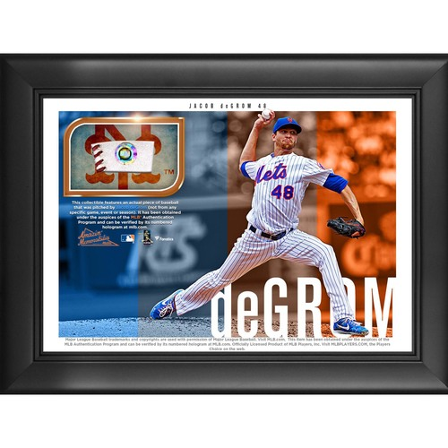 Photo of Jacob deGrom Game-Used Baseball Plaque
