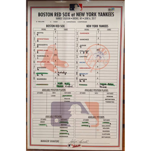 Photo of Red Sox at Yankees Game Used Line-Up Card June 6, 2017 - Red Sox Win 5-4