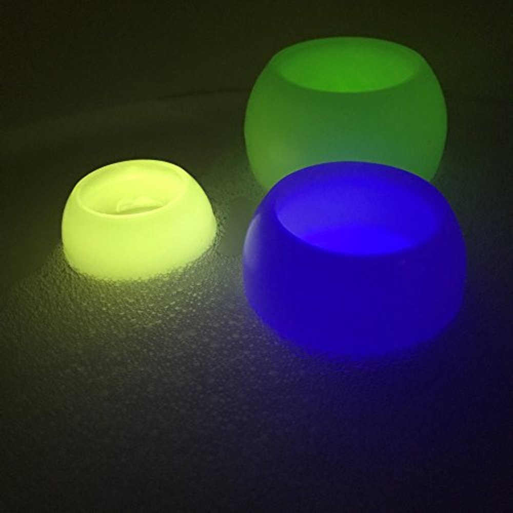 Photo of WHW Whole House Worlds Floating LED Lights for Pools and Spas, Real Candle Wax Exterior, Plastic Interior, Set of 3 Continuously Changing Spectrum of Color, Set of 3, 4, 5 Inches, Batteries Included
