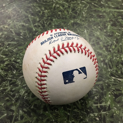 Photo of Game-Used Baseball PIT@MIL 08/31/20 - Freddy Peralta - Josh Bell: Strikeout