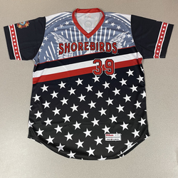 Photo of Patriotic Game Worn Autographed Jersey #39 Size 48 Reed Trimble