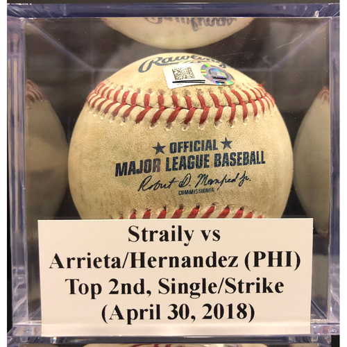 Photo of Game-Used Baseball: Straily vs Arrieta/Hernandez (PHI), Top 2nd, Single/Called Strike (April 30, 2018)