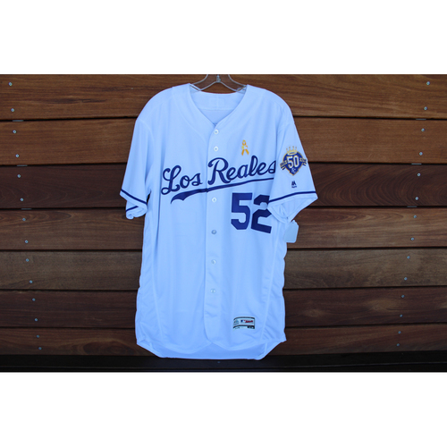 Photo of Game-Used Los Reales Jersey: Jorge Lopez (Size 46 - BAL @ KC - 9/1/18)
