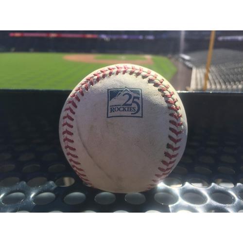 Photo of Colorado Rockies Game-Used Baseball - Davis v. Bellinger - Triple (7) to Blackmon - September 8, 2018