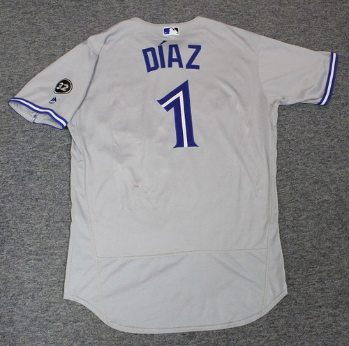 Photo of Authenticated Game Used Jersey - #1 Aledmys Diaz (June 12, 2018: 1-for-4. August 2, 2018: 1-for-1 with 1 HR, 1 Run and 2 RBIs. Aug 4, 2018: 2-for-4 with 1 HR, 1 Double, 2 Runs and 1 RBI). Size 46.