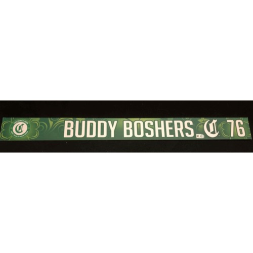 Photo of Buddy Boshers -- Team-Issued Locker Name Plate -- 2019 St. Patrick's Day