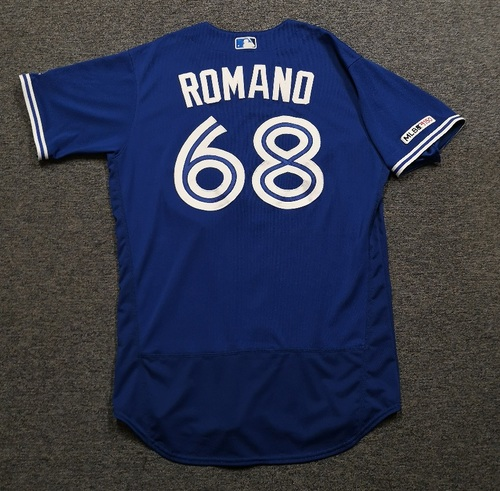 Photo of Authenticated Team Issued Jersey: #68 Jordan Romano (2019 Season). Size 46