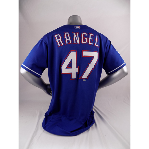Photo of Final Season Game-Used Blue Jersey - Julio Rangel - 8/2/19, 9/29/19