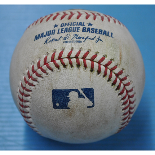 Photo of Game-Used Baseball - 8/23/2020 - MIL @ PIT - Pitcher - JT Brubaker, Batter - Justin Smoak, Top 4, Double