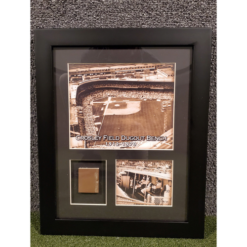 Photo of Framed Piece of Crosley Field Dugout Bench (Number 58 of 150)