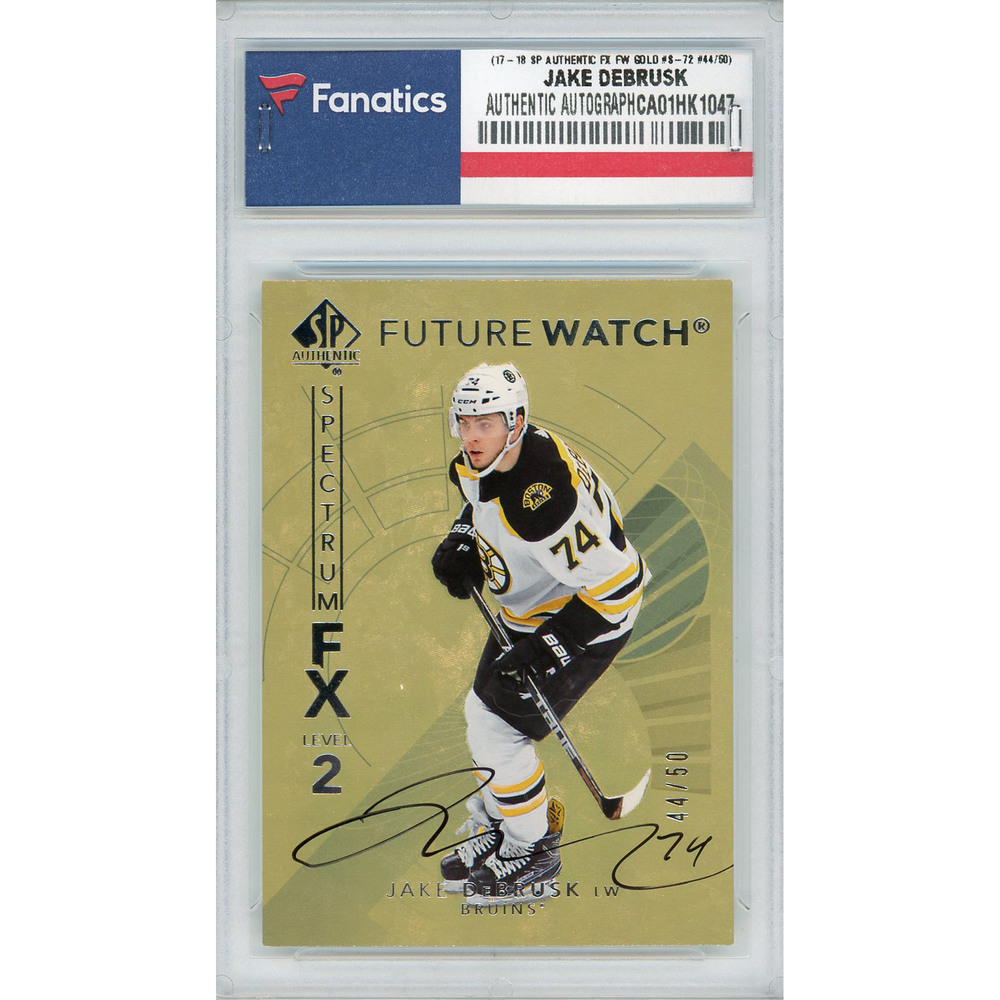 Jake DeBrusk Boston Bruins Autographed 2017-18 Upper Deck SP Authentic Spectrum FX Future Watch Gold #S-72 Card - LE#44 of 50