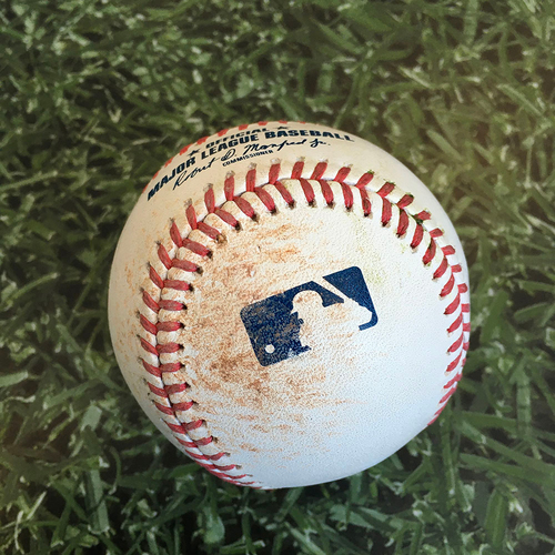 Photo of Game-Used Baseball KC@MIL 09/18/20 - Drew Rasmussen - Salvador Perez: Single