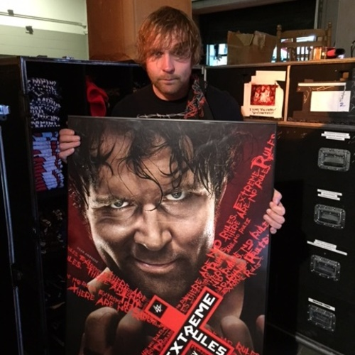 dean ambrose signed framed foam extreme rules 2016 poster wwe auction