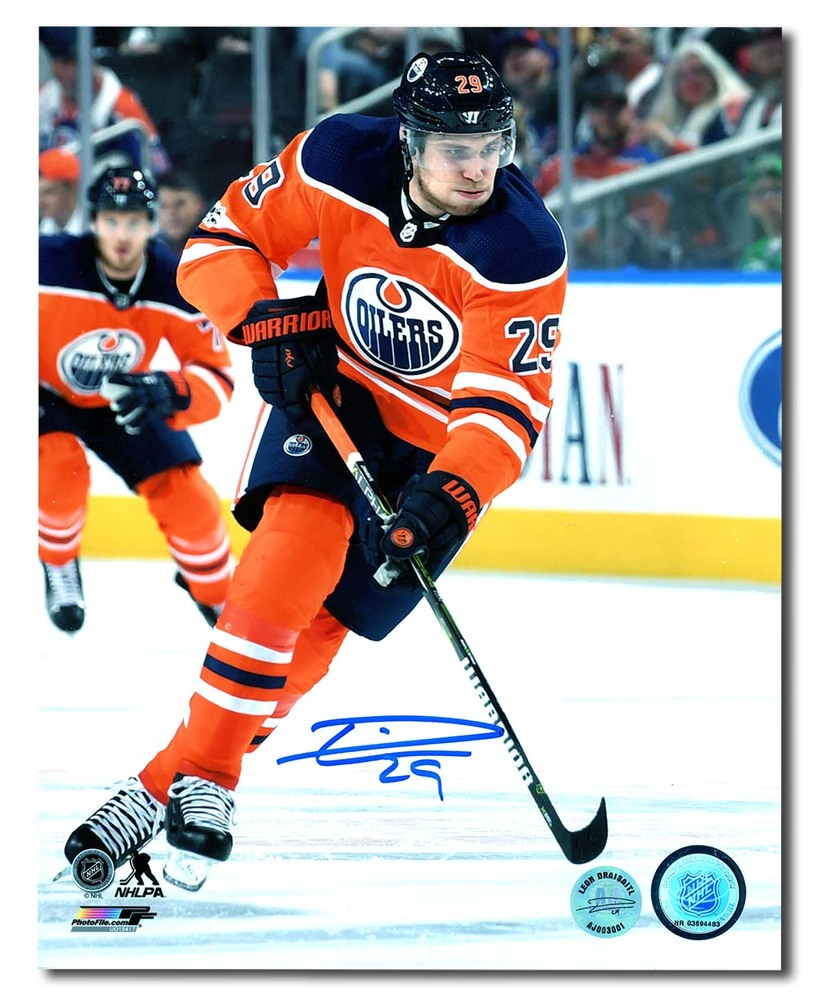 Leon Draisaitl Edmonton Oilers Autographed Orange Crush Jersey 8x10 Photo