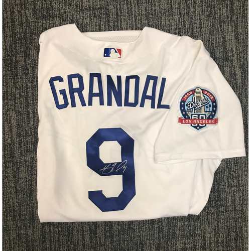 Photo of Kirk Gibson Foundation Auction: Yasmani Grandal 2018 Game-Used Autographed Los Angeles Dodger Jersey