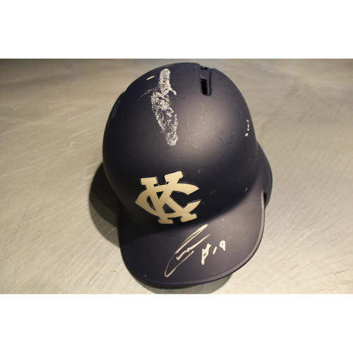 Photo of Game-Used & Autographed Batting Helmet: Cheslor Cuthbert (DET at KC - 5/6/18)