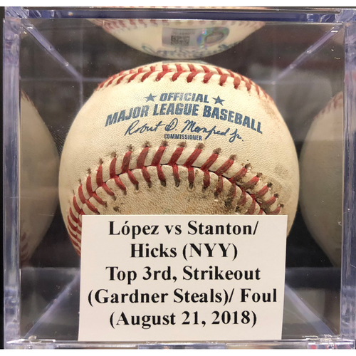 Photo of Game-Used Baseball: López vs Stanton/Hicks. (NYY), Top 3rd, Strikeout (Gardner Steals)/ Foul (August 21, 2018)