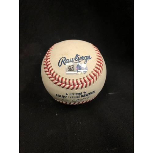 Photo of Christian Yelich Hits for Cycle -- Game-Used Baseball -- 6th Inning -- Williams to Lorenzen (Foul) -- Yelich Goes 6-for-6, Hits for the 8th Cycle in Brewers History -- 08/29/2018 -- MIL vs. CIN