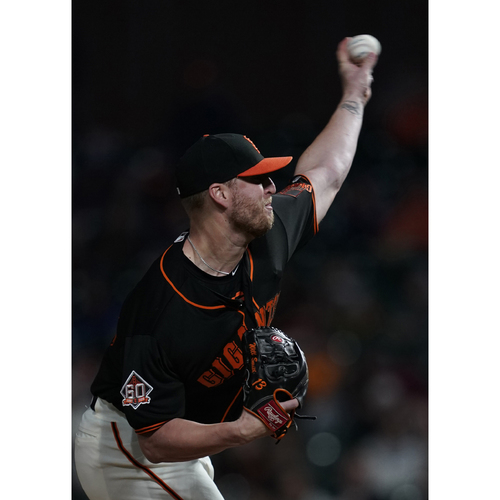 "Photo of San Francisco Giants - 2018 Black Alternate ""Gigantes"" Game-Used Jersey - Will Smith - 1.0 IP, SAVE (size 50)"