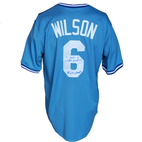 Photo of Autographed Powder Blue Jersey: Willie Wilson