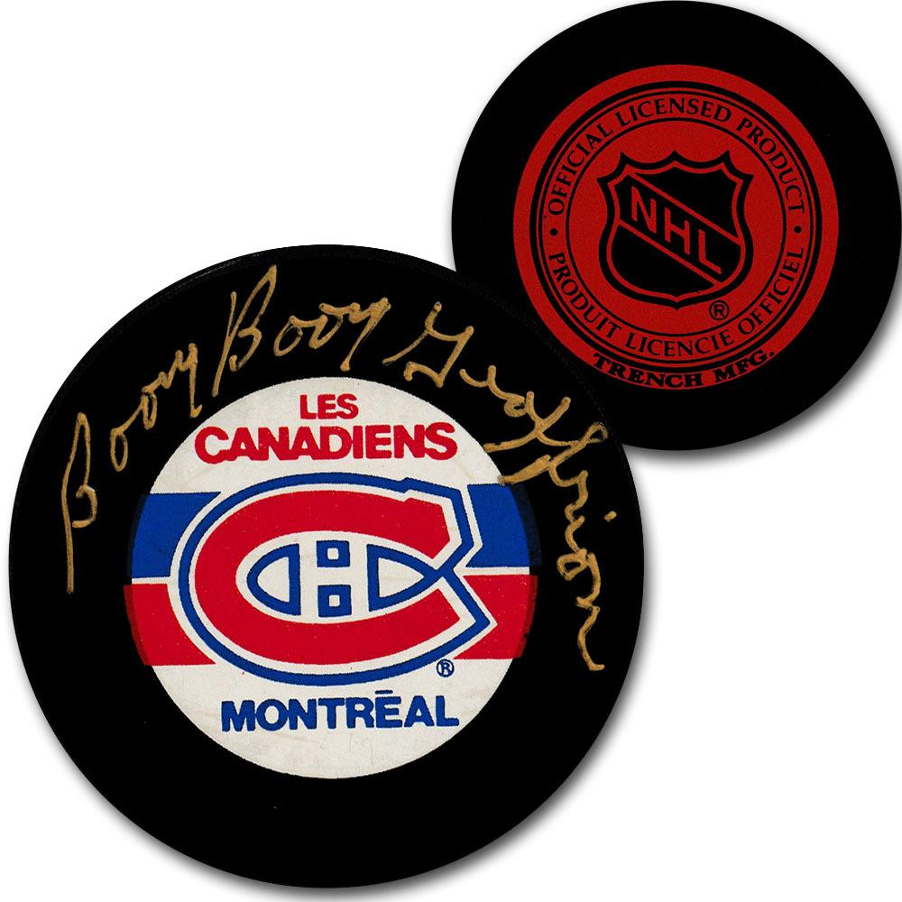 Bernie BOOM BOOM Geoffrion (deceased) Autographed Montreal Canadiens Vintage Trench Puck
