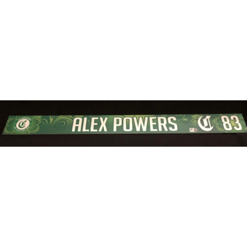 Photo of Alex Powers -- Team-Issued Locker Name Plate -- 2019 St. Patrick's Day