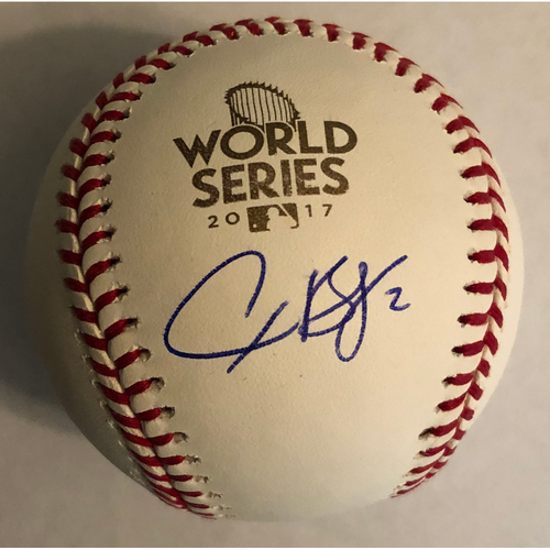 Photo of Alex Bregman Autographed 2017 World Series Logo Baseball