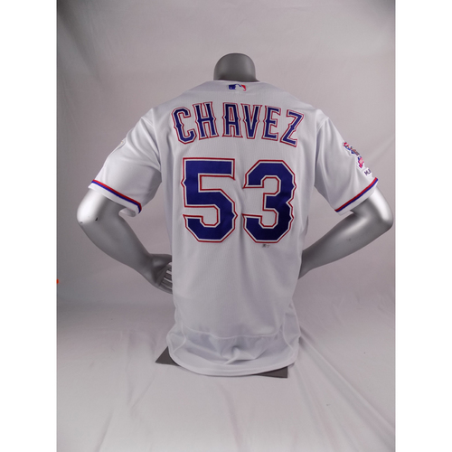 Photo of Final Season Game-Used White Jersey - Jesse Chavez - 3/28/19