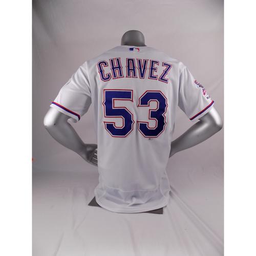 Final Season Game-Used White Jersey - Jesse Chavez - 3/28/19