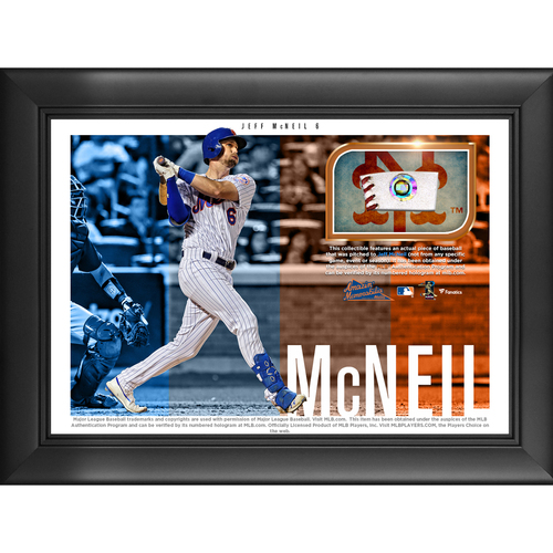 Photo of Jeff McNeil Game-Used Baseball Plaque