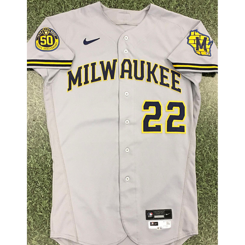 Photo of Christian Yelich 2020 Team-Issued Road Grey Jersey (Authenticated 08/19/20 - 6th HR)