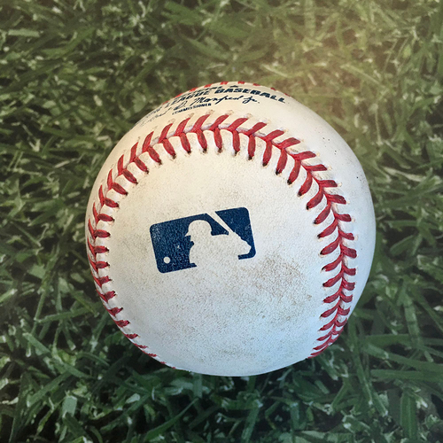 Photo of Game-Used Baseball KC@MIL 09/18/20 - Adrian Houser - Whit Merrifield: First Pitch of Game & Single