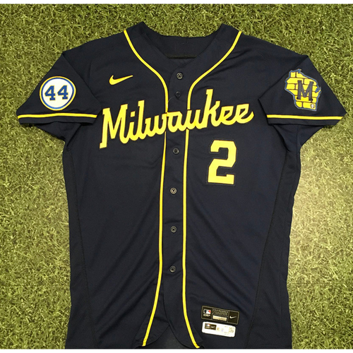 Photo of Luis Urias 2021 Game-Used Road Navy Jersey