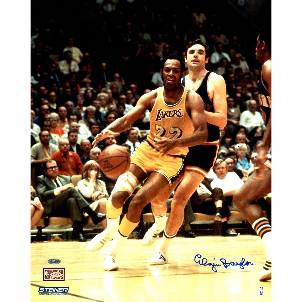 4c6335a427c Elgin Baylor Signed vs. Knicks 16x20 Metallic Photo | NBA Auctions